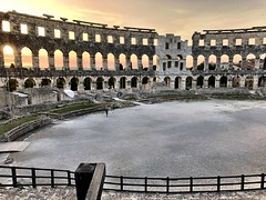 Orange Sky (aiva.) Tags: croatia istria pula hrvatska coliseum arena sunset ruins architecture istra balkan amphitheater jadran adriatic antic