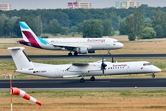 2 Eurowings-one landing, one taking off-at Berlin Tegel Airport (Jaws300) Tags: cs colours hybrid hybridcs hybridcolours dabnt runway canon eddt txl eos deutschland germany propeller prop regionalplane turboprop q400 dhc8q400 dhc8400 dhc8 dhc dabqh a320 airbus bombardier departure departing takeoff arrival arriving landing group lufthansa lh lufthansagroup lhgroup eurowings wings euro tegel airport berlin tegelairport berlintegel berlintegelairport