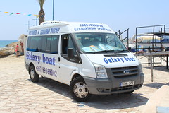 The Galaxy Boat free transfer bus. (steve vallance coach and bus) Tags: mzh573 fordtransit galaxyboat ayianapa agianapa cyprus