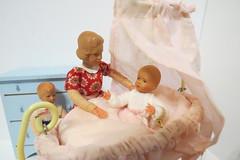 Flea Market Finds (Foxy Belle) Tags: dollhouse doll 112 vintage wood wooden thrift flea market german germany retro mod baby cradle pink mother boy