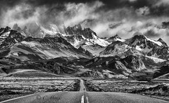 Dreams and Reality, Argentina (beautifullcreatures) Tags: cloud mountains peaks snow trees andes np road bw argentina