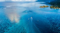 Boat Sailing Towards With Blue Calm Body of Water (2kreviews) Tags: beach birds eye view boats daylight daytime green islands landscape mountains ocean outdoors resort sand scenic sea seascape seashore tourism trees water waves