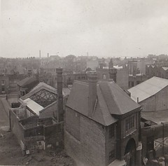 Views from Nottingwood House 1949 (Bury Gardener) Tags: bw blackandwhite oldies old snaps scans 1940s 1949 england uk landscape building buildings city nottingwoodhouse london britain kensington walmerroad rugbyclub