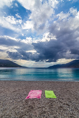 On the beach (Vagelis Pikoulas) Tags: june summer beach 2018 porto germeno greece sea seascape sky skyscape clouds cloudy cloudscape europe canon 6d tokina 1628mm landscape view calm towels