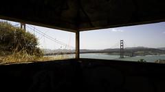 Golden Gate Bridge Framed (fongpei) Tags: goldengatebridge sanfrancisco sanfranciscobay marinheadlands ocean water sky clouds