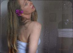 After (Summer) Rain ... (MargoLuc) Tags: rainy summer day window reflection droplets me self portrait girl woman pink flower blue eyes dreamy mood artisawoman