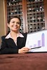 Stock Images (perfectionistreviews) Tags: color indoors photograph vertical attractive pretty female woman brunette smiling communication businesswoman business chart pointing graph progress person meeting diagram businessmeeting adult portrait occupation presentation youngadult latino hispanic 2025years working halflength women professional career corporate success smile one people growth finance profit confidence confident