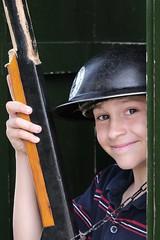 On Guard (andypf01) Tags: people male boy child portrait play fun happy smile woodengun helmet soldier sentry emotion mood colour northyorkshire england unitedkingdom uk eyes edencamp