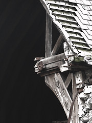 The Wrecked Roof (Steve Taylor (Photography)) Tags: earthquake christchurchcathedral strut tiles architecture roof brown contrast white muted stone wooden wood timber tile newzealand nz southisland canterbury christchurch city texture quake damage