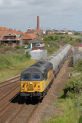 14-06-2018 56094 @ Ryhope Grange (steveporrett) Tags: railway locomotive train tracks track railroad gb great britain uk united kingdom england 14062018 14 june 2018 summer 56094 ryhope grange 6e90 oxwellmains lafarge seaham harbour loaded cement tanks durham coast line colas rail freight class 67 skip gm general motors bobo