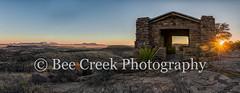 Sunset at Davis Montain Overlook Pano (tod grubbs) Tags: davismoutainsstatepark pano panorama overlook sunset rays rockbuilding restarea views desert landscape color colorfulsky texaslandscape texassunsets
