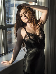 Late Afternoon Sun (Pennant) Tags: approved redhead intimate vintage lace satin slip hotel
