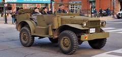 Former U.S. Army Dodge WC-56 ¾-ton 4×4 WWII command/reconnaissance car - Brampton, Ontario. (edk7) Tags: olympuspenliteepl5 edk7 2016 canada ontario peelregion brampton fourcorners usarmywwiidodgewc56¾ton4×4commandcar chryslert214liquidcooledgasolineflatheadstraightsix2302cubicinch3772litre92hp usarmyordnancecorpssupplycatalogg502trucktruckcommandreconnaissance¾ton4×4wc56 mechanical machine military vehicle truck camouflage road secondworldwar worldwartwo worldwarii worldwar2 wwii ww2 veteran remembranceday jerrycan