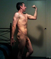 me flexing at around 69kg showing some definition (My Risque Art) Tags: nude man artistic art 30 something abs fit naked uncircumcised flexing penis cock risque average guy guys men color colour posing muscle legs sexy