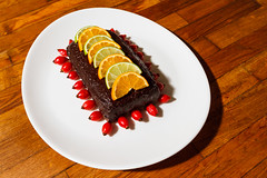 Raw chocolate cake with rose hip, orange and lime (Raoul Pop) Tags: chocolate rawfood slices lime rosehip fall orange dessert medias transilvania romania ro