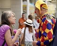 CanIRingYourBells (Hodd1350) Tags: wimborne wimborneminster wimbornefolkfestival people talking hat flute bells colours rednose sony zeissbatis135mmlens a7rlll