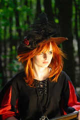 S (Derbeth) Tags: d5000 samyang samyang85mmf14 woman hat costume warhammer forest red hair