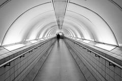 Nonentity (Douguerreotype) Tags: monochrome underground city bw station uk metro geometry arch british england tunnel blackandwhite mono subway silhouette gb geometric london britain urban people tube bank