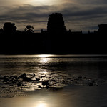 Sunrise at Angkor Wat in Silhouette with reflection on the moat thumbnail