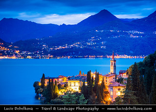 Italy - Alps - Lake Como - Varenna & its Church at Twilight - Blue Hour - Night - Dusk
