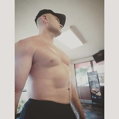 fast food (ddman_70) Tags: shirtless pecs abs muscle sweatpants fastfood burger restaurant