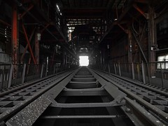 This is the end (Trebor420) Tags: chicago illinois abandoned old coal track rail dark dirty southside coalbunker bunker end littlelight steel platform holes