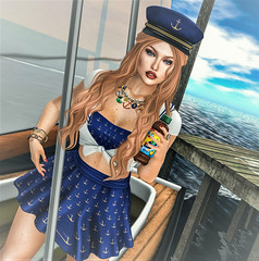 Sea & Tea (Sparkle Mocha) Tags: decoy chicchica limerence fameshed giz seorn nautical arcade focus poses sailboat men blush event ice tea anchor maitreya lara redhead firestorm secondlife sl fashion mesh navy captainshat dock sail