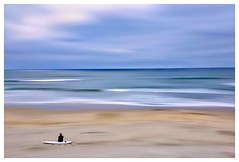 Eternity (Christina's World Off and On) Tags: outdoors ocean sandiego scenic sky sea surfer surreal surfboard seascape landscape painterly sand clouds serene beach birdsflying birds flockofbirds digitalart exotic frame fragile coastal minimalism blue pacificocean fineart art artistic