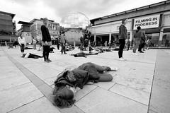 filming dead people (weirdoldhattie) Tags: bristol millenniumsquare bw blackandwhite monochrome film filming bbc angelarippon antibiotics