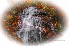 Red Waterfall (tclaud2002) Tags: water waterfall landscape rock rocks rocky stream mountain mountainstream rural country outdoors nature mothernature red leaves redleaves autumn colors autumncolors franklin northcarolina usa