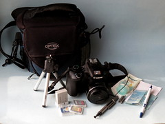 My gear (diffuse) Tags: msh0518 msh05185 minitripod bag sparebattery pen lotion tissue lenscleaner camera money