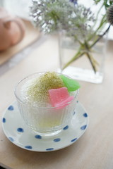 green tea shaved ice (nearbyescape) Tags: sweets delicious tabletop table afternoon treat food styling tasty dessert happy bokeh sony alpha yum