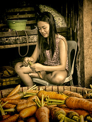 Carrot Stand (Artypixall) Tags: thephilippines cebu market woman vendor portrait carrots stand blackwhite desaturated