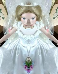 Split Dissuasion (PhotoJester40) Tags: indoors inside doll doubled vintage whitedress amdphotographer
