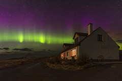 Northern lights display over Crann Tara, Kyle of Tongue, Sutherland, Scotland. (linda.m.davison@btinternet.com) Tags: cranntara sutherland tongue stars nightshot northernlights auroraborealis scotland kyleoftongue