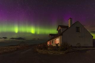 Northern lights display over Crann Tara, Kyle of Tongue, Sutherland, Scotland.