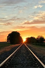 Sunset Down the Tracks (mjhedge) Tags: tracks railroad sunset rural illinois rising symmetry lines orange clouds