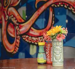 Tiki Table (Maureen Medina) Tags: maureenmedina artizenimages california ca northern sandiego coast stilllife restaurant table condiments tiki flowers food