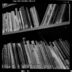 Roll01_-9_Pos_Small (tobyv_photo) Tags: agiflex agifold agipinfold pinhole pinholelens lensless camera conversion photography medium format bellows classic mono ilfordfilm ilford delta 400 home development 120 6x6 square library books shelf readmorebooks