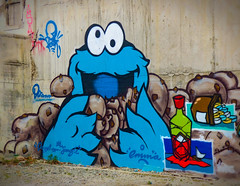 Me Cookie Monster (Steve Taylor (Photography)) Tags: cookiemonster dtrcrew emma dcypher jungle redwine bottle pills cookies freak wongi boat eyes graffiti mural streetart tag blue black green red brown white colourful smiling smile happy fun cool concrete newzealand nz southisland canterbury christchurch cbd city outline cartoon