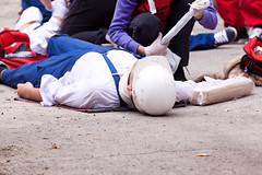 Work accident. Occupational injury. (TheHouseWire) Tags: accident work injury worker workplace first aid pain construction training job safety health emergency paramedic wound occupational helmet ambulance staff death care help