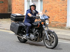 Happy Suzuki GS850 Rider. (BIKEPILOT, Thx for + 4,000,000 views) Tags: happy suzuki gs850 rider motorcycle motorbike bike farnham surrey uk england britain farnhamfestivaloftransport motion biking