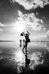 Reflections (SemiXposed) Tags: bw girl bali indonesia water clouds afternoon outdoors sony chinese woman kid silhouette