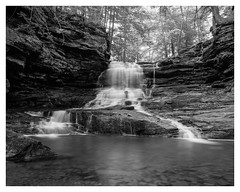Honey Run Falls - near Mt. Vernon, Ohio (jeremy.mudd) Tags: honeyrunfalls honey run falls waterfalls acros acros100 fujiacros blackwhite film filmphotography rb67 rb67pros mamiya mamiyarb67 longexposure