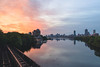 Grand Junction Sunrise (austinfloyd) Tags: boston skyline city bu bridge university massachusetts institute technology mit mass cambridge charles river railroad bridges ducks sunrise clouds water reflection colorful prudential citgo sign