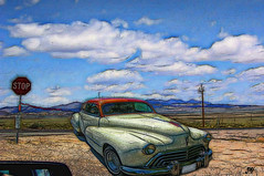 Stop Sign In The Desert (Mike Pesseackey (UAGUY1)) Tags: art digitalart oldsmobile cars automobiles desert nevada fallennevada kodak pointandshoot photoshop graphic graphicart design transportation