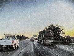 Hauling Hay (p) (davidseibold) Tags: 18wheeler america bakersfield california drivebyphotography hwy99 iphoneography jfflickr kerncounty painting phoneshot photosbydavid plant postedonflickr sign sunrise tree unitedstates usa vehicle