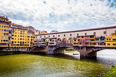 Ponte Vecchio, Florence (mikael_blue) Tags: firenze italia bridge river arno reflections sky florence italy canon pontevecchio water city building architecture