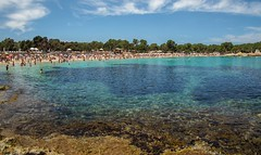 Playa Cala Bassa, Ibiza. (CWhatPhotos) Tags: playacalabassa spain holiday ibiza people cwhatphotos beach playa cala bassa sand sea sky blue sunny hot wideangle wide view photographs photograph pics pictures pic picture image images foto fotos photography artistic that have which contain olympus camera holidays hols hol june 2018 ibizan