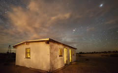 Ranch House (magnetic_red) Tags: sky night stars dramatic desert mojavenationalpreserve corral americanwest ranch